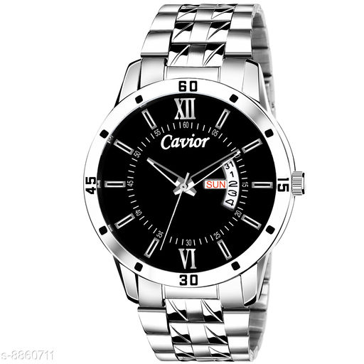 Mens Black Day and Date Function Analog Watch