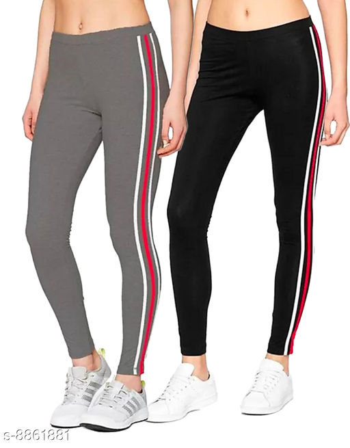women's side stripped ankle length jegging Combo Pack Of 2