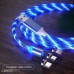 FRYSKA 360 Degree 2.1A Fast Magnetic LED Flowing Magnetic 3 in 1 Charging Cable Multi Charger Cord Streamer Quick Connect Magnetic Charging Cable Micro USB/Type-C/ 3in1 for Smartphone (Blue)