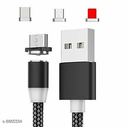 FRYSKA 3 in 1 Magnetic Quick Charging Type C Micro 8Pin Plug Magnet USB Cable with LED Indicator Light Nylon Braided Durable 1Meter Cable for Cell Phone. (Black)