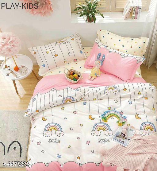Bedsheets Beautiful Cotton Double Bedsheet With Pillow Cover 100_108 17_27  *Fabric* Cotton  *Multipack* 1 cotton bedsheet  *Sizes*   *King (Bedsheet Length Size* 108 in, Bedsheet Width Size  *Sizes Available* King *    Catalog Name: Comfy Colorful Kids Unisex Bedsheets CatalogID_1523117 C63-SC1322 Code: 7541-8875832-