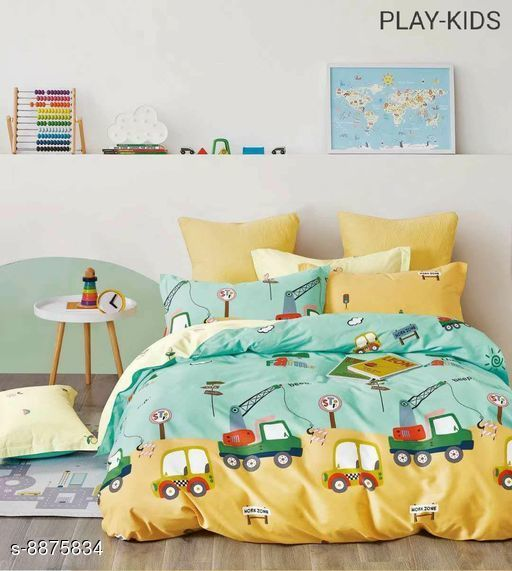 Bedsheets Beautiful Cotton Double Bedsheet With Pillow Cover 100_108 17_29  *Fabric* Cotton  *Multipack* 1 cotton bedsheet  *Sizes*   *King (Bedsheet Length Size* 108 in, Bedsheet Width Size  *Sizes Available* King *    Catalog Name: Comfy Colorful Kids Unisex Bedsheets CatalogID_1523117 C63-SC1322 Code: 7541-8875834-
