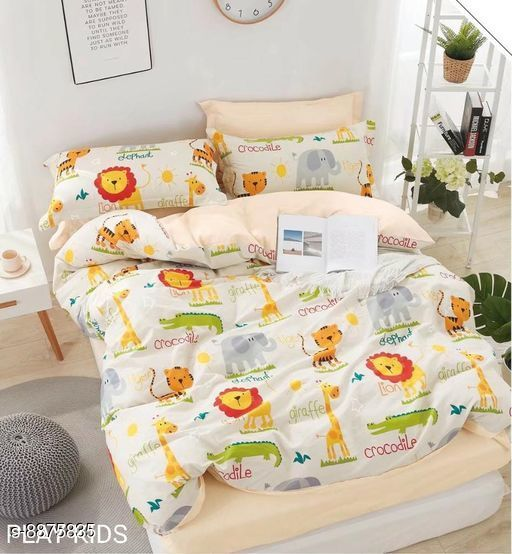 Bedsheets Beautiful Cotton Double Bedsheet With Pillow Cover 100_108 17_30  *Fabric* Cotton  *Multipack* 1 cotton bedsheet  *Sizes*   *King (Bedsheet Length Size* 108 in, Bedsheet Width Size  *Sizes Available* King *    Catalog Name: Comfy Colorful Kids Unisex Bedsheets CatalogID_1523117 C63-SC1322 Code: 7541-8875835-