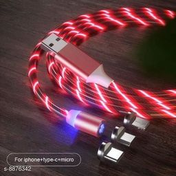MI-STS 360 Degree 2.1A Fast Magnetic LED Flowing Magnetic 3 in 1 Charging Cable Multi Charger Cord Streamer Quick Connect Magnetic Charging Cable Micro USB/Type-C/ 3in1 for Smartphone (Silver)