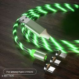 GUG 360 Degree 2.1A Fast Magnetic LED Flowing Magnetic 3 in 1 Charging Cable Multi Charger Cord Streamer Quick Connect Magnetic Charging Cable Micro USB/Type-C/ 3in1 for Smartphone (Green)