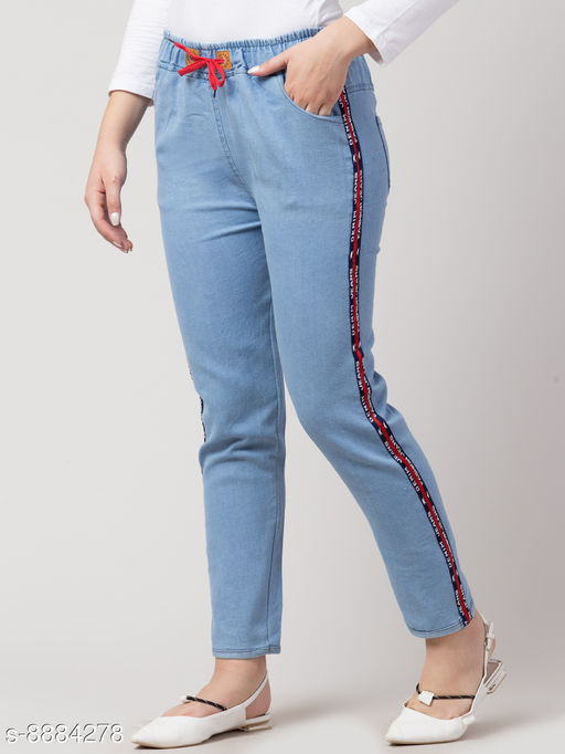 Ira Premium Joggers Side Striped Light Blue Jean For Women