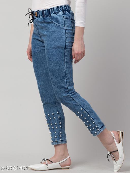Ira Premium Joggers Bottom Pearl Blue Jean For Women