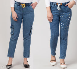 Ira Premium Combo Cargo and Thigh Pearl Blue Joggers Jeans For Women