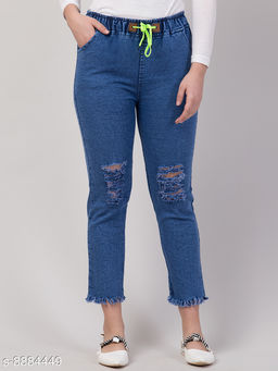 Ira Premium Joggers Washed Knee Slit Blue Jean For Women