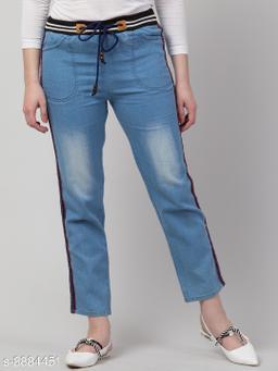 Ira Premium Joggers Black Elastic Side Striped Light Blue Jean For Women