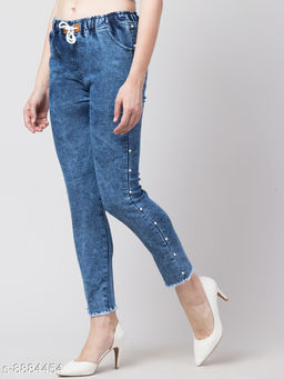 Ira Premium Joggers Side Pearl Design Blue Jean For Women
