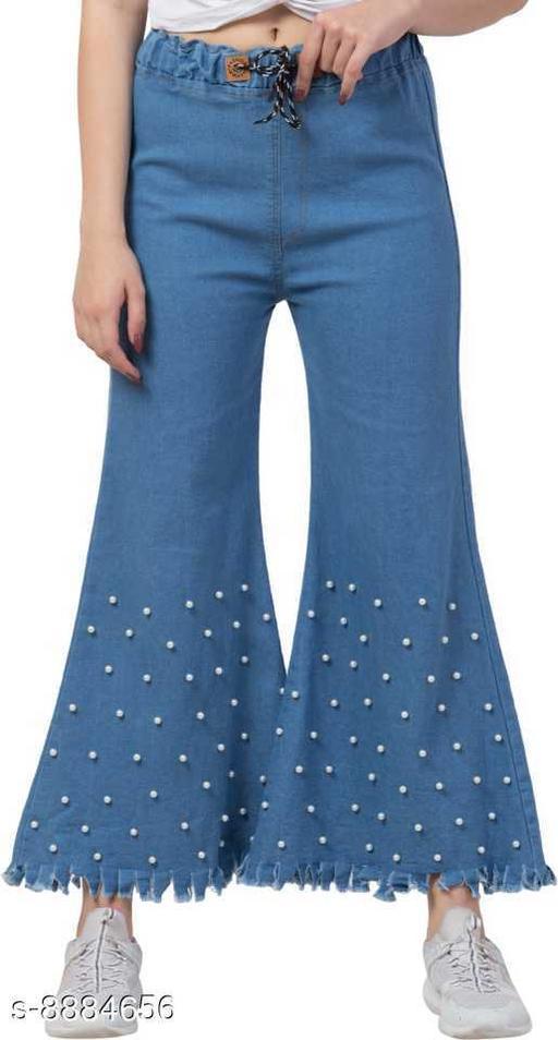 Ira Premium Joggers Bottom Pearl Flared Light Blue Jean For Women