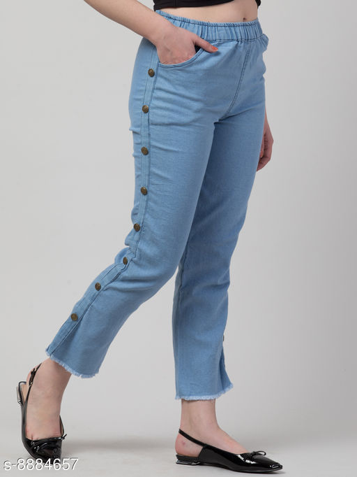 Ira Premium Joggers Side Buttoned Light Blue Jean For Women