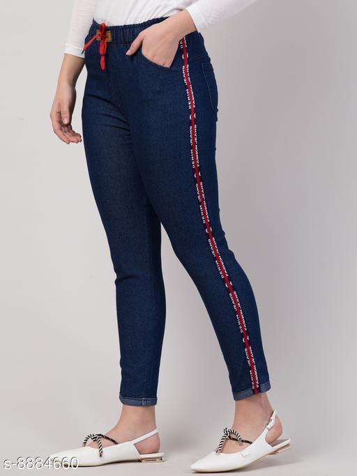 Ira Premium Joggers Denim Side Striped Dark Blue Jean For Women