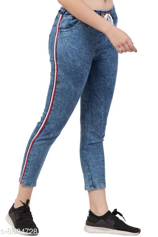 Ira Premium Joggers Side Striped Blue Jean For Women