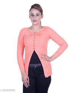 Ogarti woollen full sleeve round neck Peach Women's  Shrug