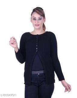 Ogarti woollen full sleeve round neck Black Women's  Shrug