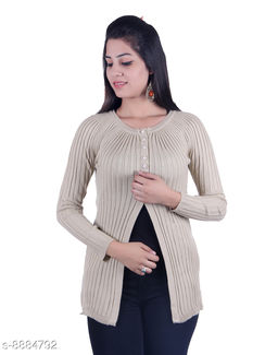 Ogarti woollen full sleeve round neck Skin Women's  Shrug