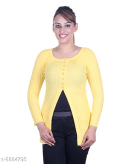 Ogarti woollen full sleeve round neck Yellow Women's  Shrug