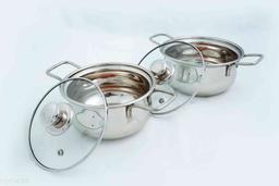 Kitchen Krafts 2 Pcs Flat Bottom Belly Handi With Glass Lid