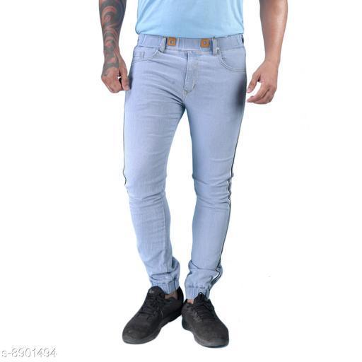 Hootry Men Light Blue Slim Fit Mid-Rise JOGGER