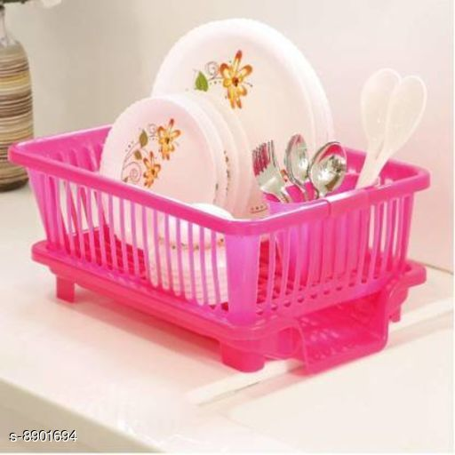 Dishwash Bar DISH WASHING BASKET OF KITCHEN  *Material* Plastic  *Pack* Pack of 1  *Colour * Green  *Sizes* SIZE ( L - B - H )  *Sizes Available* Free Size *    Catalog Name: Dish Rack Drainer with Tray CatalogID_1529011 C89-SC1745 Code: 125-8901694-