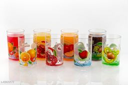 Glass Set Printed Unbreakable Stylish Transparent Glass Set (250 ml, Pack of 6) ABS Poly Carbonate Plastic