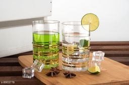 Glass Set Gold printed Unbreakable Stylish Transparent Glass Set (250 ml, Pack of 6) ABS Poly Carbonate Plastic