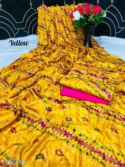 Sarees New Arrival Bandhni Vichitra Printed Saree With Dual Blouse Pics  *Saree Fabric* Vichitra Silk  *Blouse* Saree with Multiple Blouse  *Blouse Fabric* Vichitra Silk  *Pattern* Self-Design  *Blouse Pattern* Same as Saree  *Multipack* Saree with Bag  *Sizes*   *Free Size (Saree Length Size* 5.5 m, Blouse Length Size  *Sizes Available* Free Size *    Catalog Name: Kashvi Superior Sarees CatalogID_1530168 C74-SC1004 Code: 106-8906581-