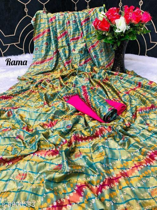 Sarees New Arrival Bandhni Vichitra Printed Saree With Dual Blouse Pics  *Saree Fabric* Vichitra Silk  *Blouse* Saree with Multiple Blouse  *Blouse Fabric* Vichitra Silk  *Pattern* Self-Design  *Blouse Pattern* Same as Saree  *Multipack* Saree with Bag  *Sizes*   *Free Size (Saree Length Size* 5.5 m, Blouse Length Size  *Sizes Available* Free Size *    Catalog Name: Kashvi Superior Sarees CatalogID_1530168 C74-SC1004 Code: 106-8906583-