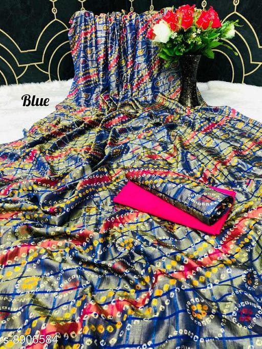 Sarees New Arrival Bandhni Vichitra Printed Saree With Dual Blouse Pics  *Saree Fabric* Vichitra Silk  *Blouse* Saree with Multiple Blouse  *Blouse Fabric* Vichitra Silk  *Pattern* Self-Design  *Blouse Pattern* Same as Saree  *Multipack* Saree with Bag  *Sizes*   *Free Size (Saree Length Size* 5.5 m, Blouse Length Size  *Sizes Available* Free Size *    Catalog Name: Kashvi Superior Sarees CatalogID_1530168 C74-SC1004 Code: 106-8906584-