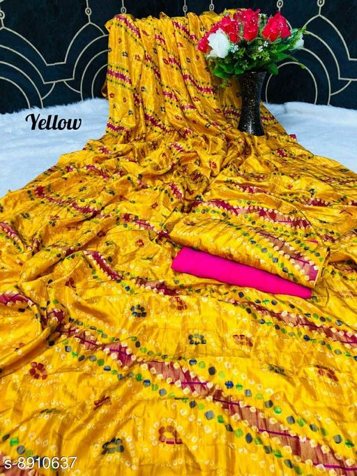 Sarees New Arrival Bandhni Vichitra Printed Saree With Dual Blouse Pics  *Saree Fabric* Vichitra Silk  *Blouse* Saree with Multiple Blouse  *Blouse Fabric* Vichitra Silk  *Pattern* Self-Design  *Blouse Pattern* Same as Saree  *Multipack* Saree with Bag  *Sizes*   *Free Size (Saree Length Size* 5.5 m, Blouse Length Size  *Sizes Available* Free Size *    Catalog Name: Charvi Pretty Sarees CatalogID_1531107 C74-SC1004 Code: 106-8910637-