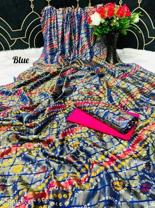 Sarees New Arrival Bandhni Vichitra Printed Saree With Dual Blouse Pics  *Saree Fabric* Vichitra Silk  *Blouse* Saree with Multiple Blouse  *Blouse Fabric* Vichitra Silk  *Pattern* Self-Design  *Blouse Pattern* Same as Saree  *Multipack* Saree with Bag  *Sizes*   *Free Size (Saree Length Size* 5.5 m, Blouse Length Size  *Sizes Available* Free Size *    Catalog Name: Charvi Pretty Sarees CatalogID_1531107 C74-SC1004 Code: 106-8910638-