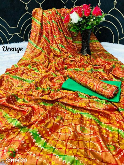 Sarees New Arrival Bandhni Vichitra Printed Saree With Dual Blouse Pics  *Saree Fabric* Vichitra Silk  *Blouse* Saree with Multiple Blouse  *Blouse Fabric* Vichitra Silk  *Pattern* Self-Design  *Blouse Pattern* Same as Saree  *Multipack* Saree with Bag  *Sizes*   *Free Size (Saree Length Size* 5.5 m, Blouse Length Size  *Sizes Available* Free Size *    Catalog Name: Charvi Pretty Sarees CatalogID_1531107 C74-SC1004 Code: 106-8910639-