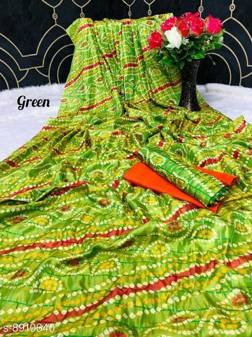 Sarees New Arrival Bandhni Vichitra Printed Saree With Dual Blouse Pics  *Saree Fabric* Vichitra Silk  *Blouse* Saree with Multiple Blouse  *Blouse Fabric* Vichitra Silk  *Pattern* Self-Design  *Blouse Pattern* Same as Saree  *Multipack* Saree with Bag  *Sizes*   *Free Size (Saree Length Size* 5.5 m, Blouse Length Size  *Sizes Available* Free Size *    Catalog Name: Charvi Pretty Sarees CatalogID_1531107 C74-SC1004 Code: 106-8910640-
