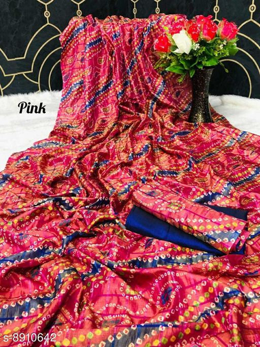 Sarees New Arrival Bandhni Vichitra Printed Saree With Dual Blouse Pics  *Saree Fabric* Vichitra Silk  *Blouse* Saree with Multiple Blouse  *Blouse Fabric* Vichitra Silk  *Pattern* Self-Design  *Blouse Pattern* Same as Saree  *Multipack* Saree with Bag  *Sizes*   *Free Size (Saree Length Size* 5.5 m, Blouse Length Size  *Sizes Available* Free Size *    Catalog Name: Charvi Pretty Sarees CatalogID_1531107 C74-SC1004 Code: 106-8910642-