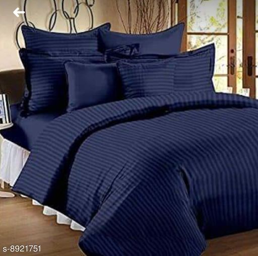Sizary Stylish Pure Cotton King Size Double Bed Premium Blue  Bedsheet (1 bedsheets with 2 Pillows).