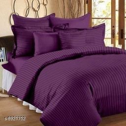 Sizary Stylish Pure Cotton King Size Double Bed Premium Purple Bedsheet (1 bedsheets with 2 Pillows).