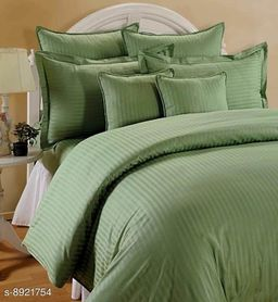 Sizary Stylish Pure Cotton King Size Double Bed Premium Green Bedsheet (1 bedsheets with 2 Pillows).
