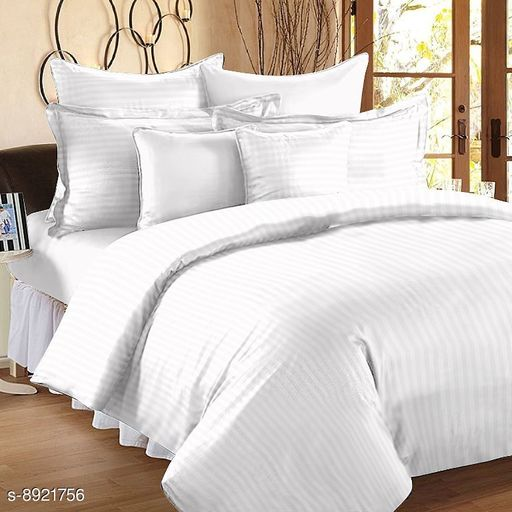 Sizary Stylish Pure Cotton King Size Double Bed Premium White Bedsheet (1 bedsheets with 2 Pillows).