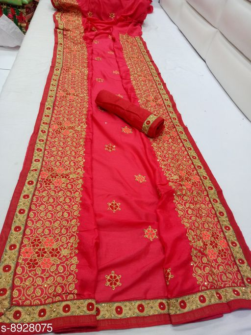 Sarees Amzing Multi Chain Steech Saree For Party and Wedding Ceremony  *Saree Fabric* Vichitra Silk  *Blouse* Separate Blouse Piece  *Blouse Fabric* Dupion Silk  *Pattern* Embroidered  *Blouse Pattern* Same as Border  *Multipack* Single  *Sizes*   *Free Size (Saree Length Size* 5.5 m, Blouse Length Size  *Sizes Available* Free Size *    Catalog Name: Jivika Voguish Sarees CatalogID_1535143 C74-SC1004 Code: 969-8928075-