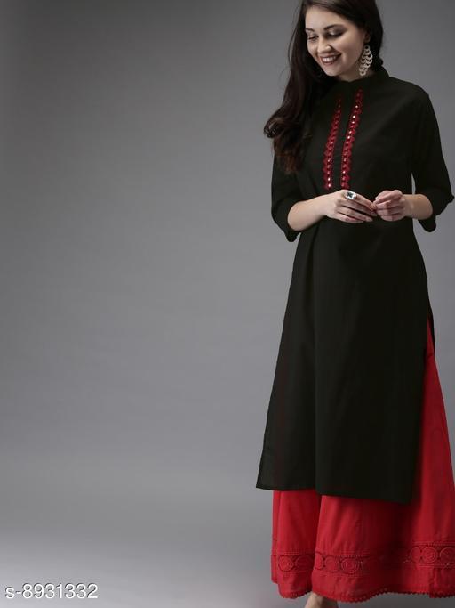 Women's Black Embroidered Cotton Kurti