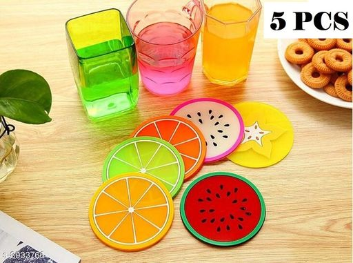 Kriwell Multicolor Heat Resistance Foldable Tea, Coffee Cup & Beverages Silicone Coaster (5 Pcs)