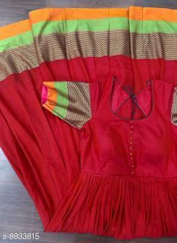 Women Satin Silk Anarkali Gown