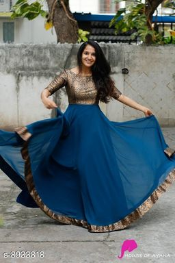 Women Jacquard Anarkali Gown