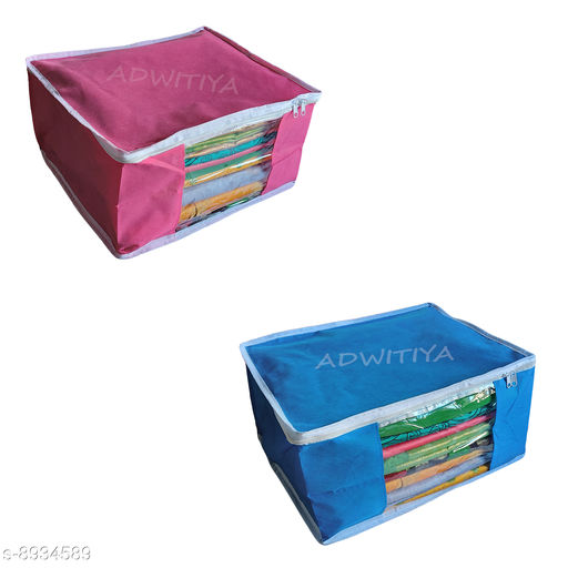ADWITIYA - Set of 2 Pcs White Border Large Nonwoven Saree Cover - Pink & Blue