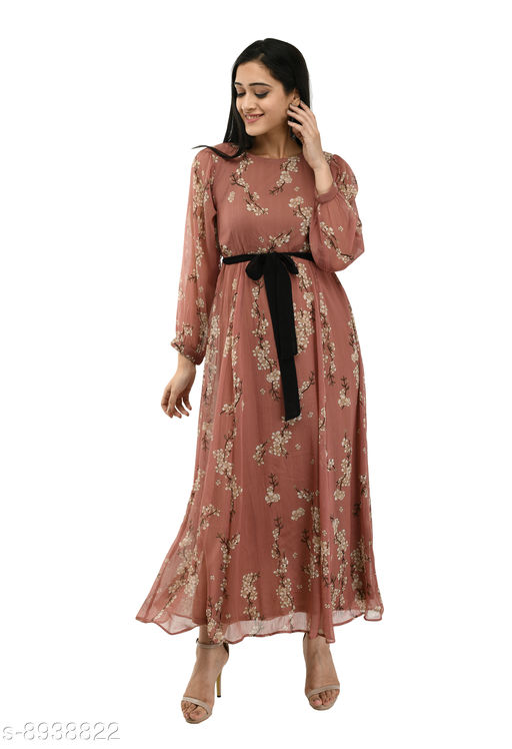 Rishu Design women's flared tie knot gown chiffon  maxi dress