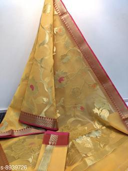 Trendy Stylish Banarasi Kora Organza Saree