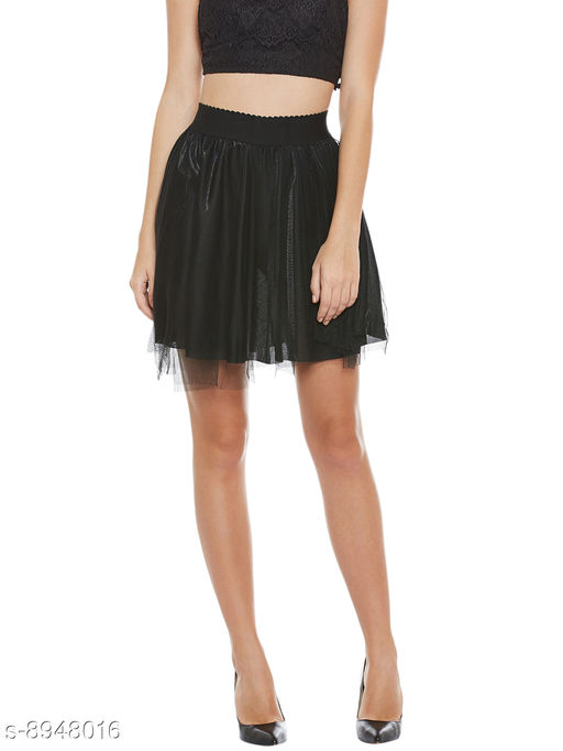 Camey Women Black Spinning Net Cover Stretch Waist Flared Casual Mini Skirt with Divider Shorts