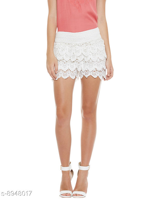 Camey Women White Lace Spinning Cover Stretch Waist Flared Casual Shorts